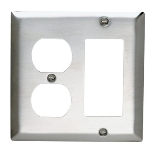 Legrand-Pass & Seymour SS826 Pass and Seymour Stainless Steel 2 Gang 1 Dup 1 Decorator Wall Plate