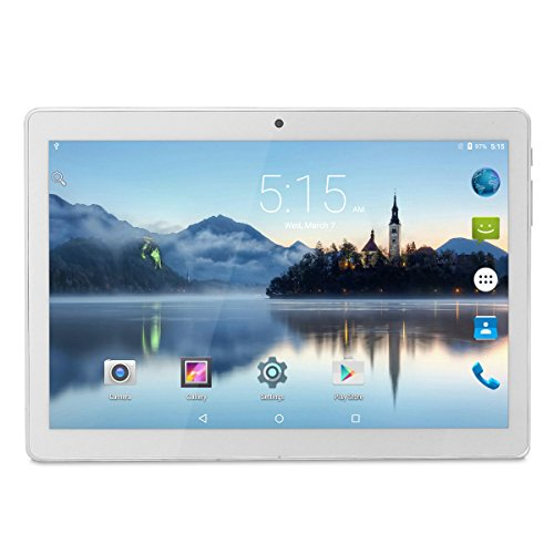 Tablet Android 10 Inch Unlocked 3G Phone, Tablets PC Dual SIM Card Slots 1GB+16GB Quad-Core IPS 1280x800, WiFi Bluetooth GPS Dual Camera Phablet,Silver by Wecool