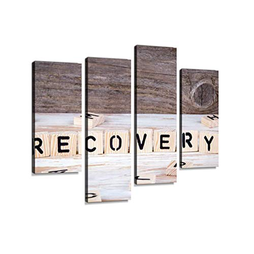 Recovery from Wooden lettersCanvas Wall Art Hanging Paintings Modern Artwork Abstract Picture Prints Home Decoration Gift Unique Designed Framed 4 Panel