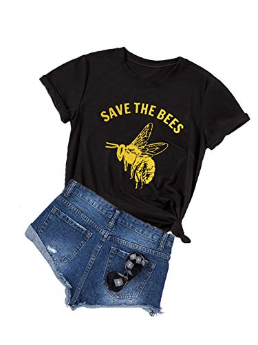 Anbech Save The Bees T Shirt Women Vintage Retro Graphic Yellow Casual Tee Tops (L, Black)