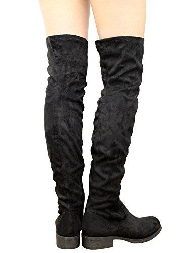 Cuissardes Styles Noir Daim Femme Saute Bottes q7x1xC