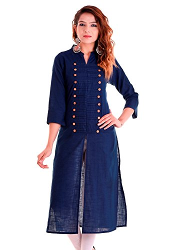 Chichi Indian Women Kurta Kurti 3/4 Sleeve Medium Size Plain with Side-Front Cut Straight Dark Blue Top by CHI