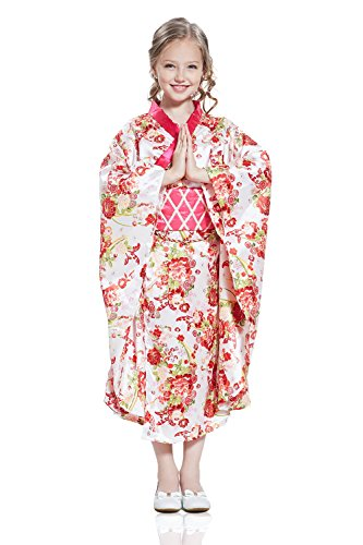 Kids Girls Japanese Princess Halloween Costume Kimono Yukata Dress Up & Role Play (8-11 years, white, pink, (Beauty Queen Fancy Dress)