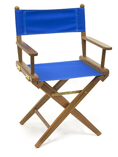 Whitecap Teak 60041 Director's Chair with Seat Covers, Blue