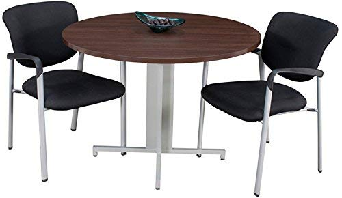 Modern Round Conference Table and Chairs Set, Office Meeting Room, Boardroom, Professional (42'' with 3 Armed Chairs, Java)