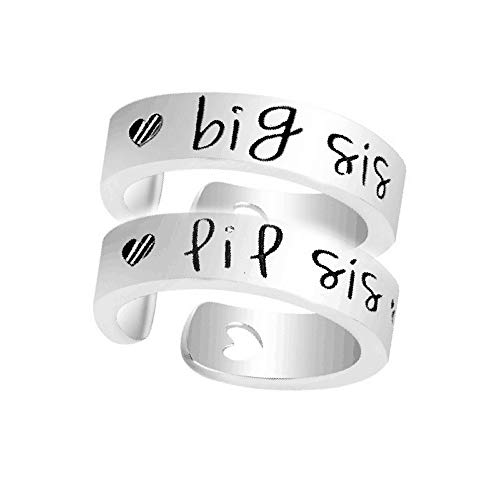 NextStone Fashion Sister Gift Stainless Steel Ring Big Little Sister Ring Set of 2pcs