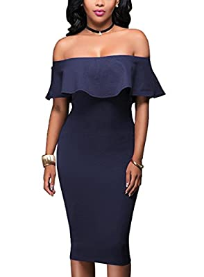 Women Bodycon Off Shoulder Party Dress Sexy Ruffle Casual Cocktail Midi Dress BK195