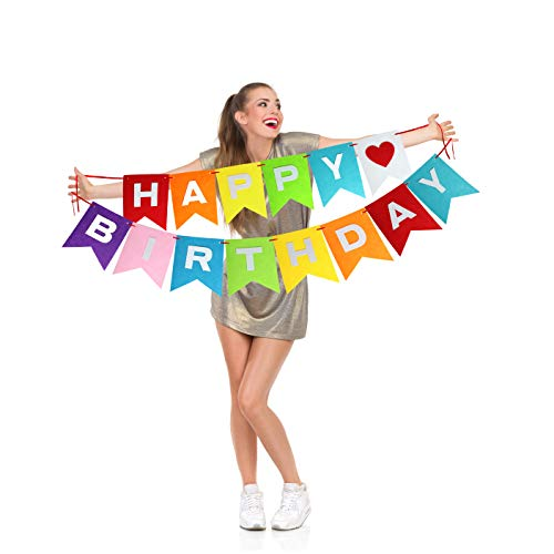 Rainbow Happy Birthday Party Banner Decorations for Kids