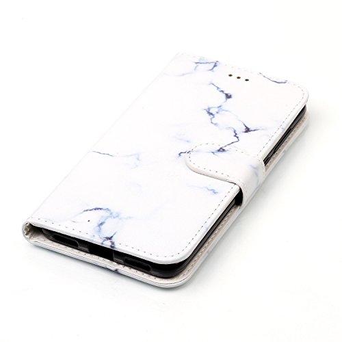 Funda Huawei P8 Lite 2017, Carcasa Huawei P8 Lite 2017, JAWSEU Huawei Ascend P8 Lite 2017 Estuche Carcasa Diseño de Libro de Cuero Billetera Impresión PU Premium y TPU Silicona Case pare Huawei Ascend Mármol Blanco