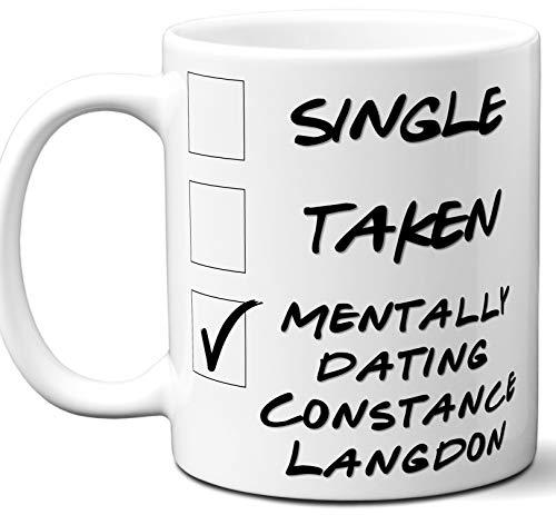 Funny Constance Langdon Mug. Single, Taken, Mentally Dating Coffee, Tea Cup. Best Gift Idea for American Horror Story TV Series Fan, Lover. Women, Men Boys, Girls. Birthday, Christmas. 11 oz.