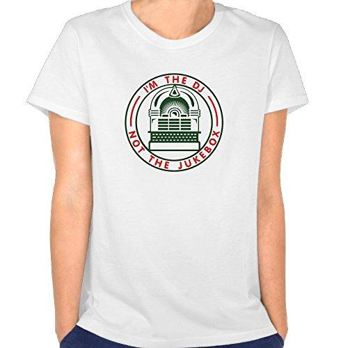 Duxa Women's I'M The Dj Not The JukeboxArt Logo Amber White Tshirts White (Amber Ladies T-shirt)