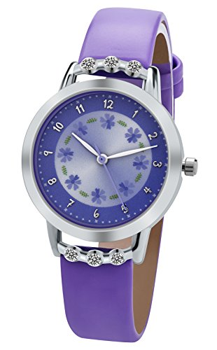 Dovoda Watches Girls Quartz Purple Leather Strap Analog Display Fashion Flower Kids Watches