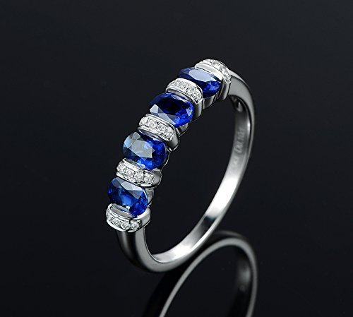 Solid 18k white gold promise ring,0.1ct SI-H Diamond engagement ring,1.2ct Oval blue Sapphire,channel setting