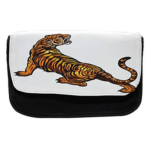 Lunarable Tattoo Pencil Case, Tiger Roaring Safari, Fabric Pen Pencil Bag with Double Zipper, 8.5