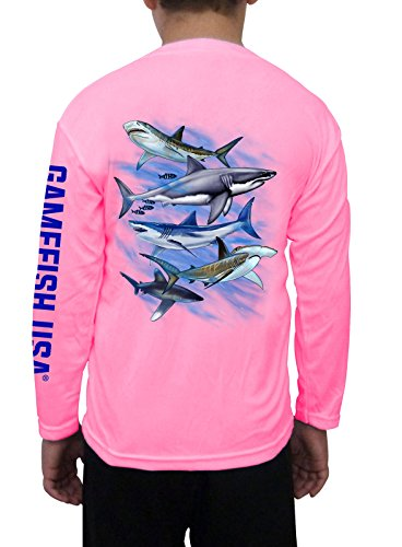 (Kid's UPF 50 Long Sleeve Microfiber Moisture Wicking Performance Fishing Shirt Sharks X-Small Pink)