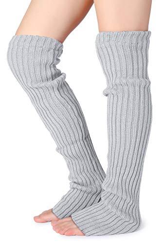 1dadc4a0e50ca Pareberry Women's Winter Over Knee High Footless Socks Knit Warm Long Leg  Warmers (Light Gray)