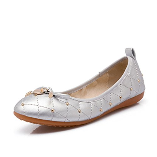Casual Shoes Bowknot Toe Silver Women Revit Ballet Flats Slip on Female Round zxxv7wX