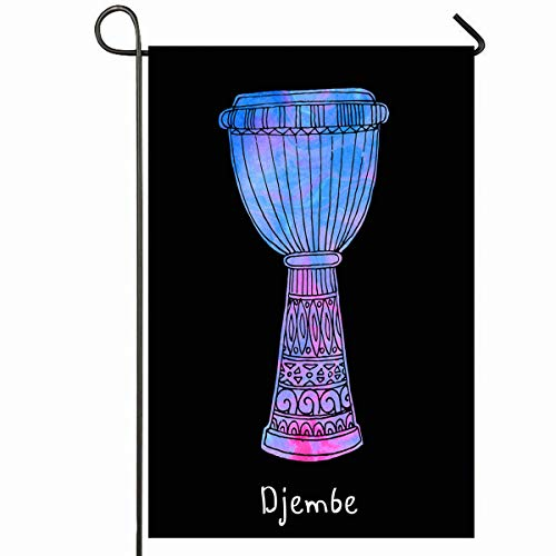 Ahawoso Outdoor Garden Flag 12x18 Inches Percussion Pink Black African Djembe Filled Doodle Waves Purple Color Drum Ethnic Lines Magenta Seasonal Home Decorative House Yard Sign ()