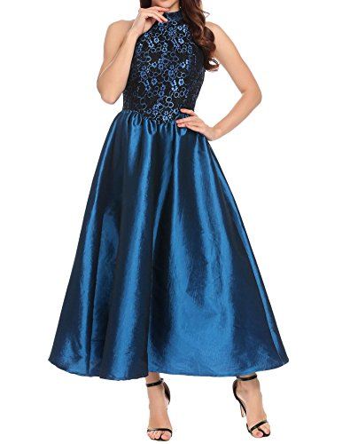 Evening Prom Party Formal Gown - ANGVNS Women's Halter Floral Lace Evening Ball Gown Long Formal Party Prom Dress