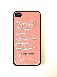 iPhone 4 Case Silicone Case Protective iPhone 4/4s Case Marilyn Monroe Quote Girl Shoes Coral Pink