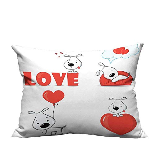 YouXianHome Print Bed Pillowcases Set of Funny Dogs with Heart Symbols Love My Pet Best Friends Companions Washable and Hypoallergenic(Double-Sided Printing) 13x17.5 inch