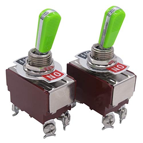 Tiass / 2pcs Univeral Heavy Duty 20A 125V DPST 4 Terminal ON/OFF Rocker Toggle Switch Plastic Metal stainless steel Top grade handle (2 Years Warranty) E-TEN-4210GG