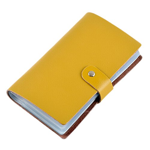 Boshiho Leather Credit Card Holder Business Card Case Book Style 90 Count Name ID Card Holder Book (Yellow)
