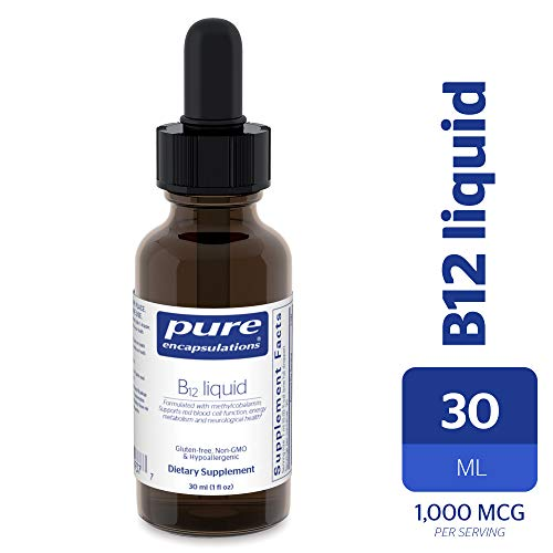 Pure Encapsulations - B12 Liquid - 1,000 mcg Vitamin B12 (Methylcobalamin) Liquid for Nerve Health and Cognitive Function* - 30 ml.
