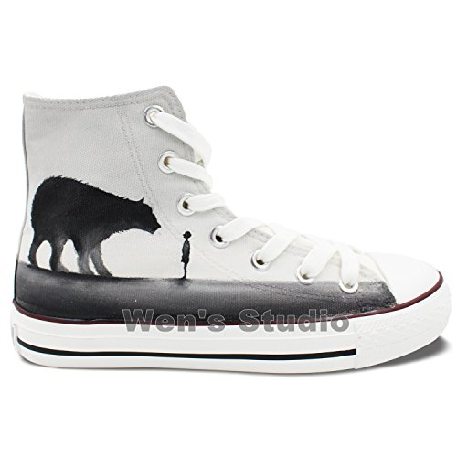 Met De Hand Geschilderde Originele Schoenen Een Kleine Jongen Draagt unisex Hi-top Canvas Sneakers
