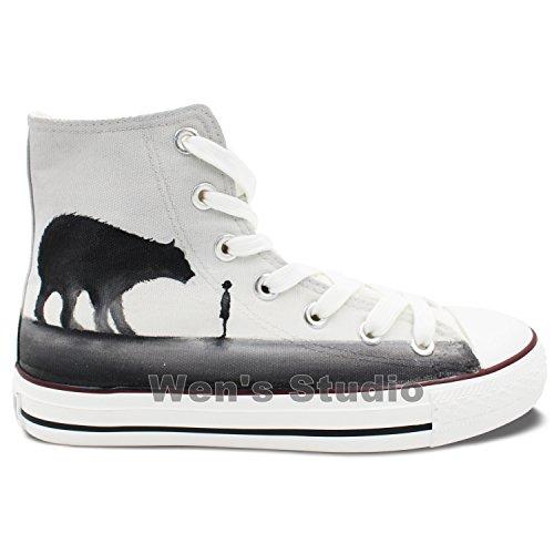 Wen Zapatos Pintados A Mano Originales A Little Boy Bear Zapatillas Unisex Hi-top Lona
