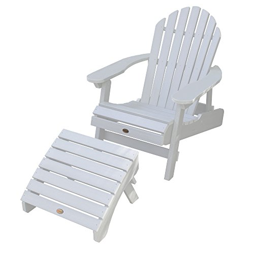 Highwood AD-KITCHL1-WHE Hamilton Folding & Reclining Folding Adirondack Chair with Ottoman, White