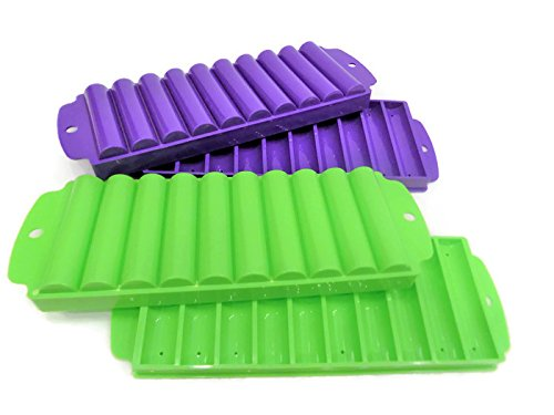 Get 4 Ice Rolls Making Trays with Covers - Makes Perfect Ice Cube Sticks For Bottled Beverages, Water Bottles, Sport Drinks, Bottled Soda. Makes a Total of 40 Ice Tubes. compare