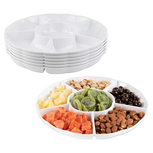 Impressive Creations White Round Plastic Serving Tray - (Pack of 6) - Heavyweight Disposable 6 Compartment Reusable Party Supply Tray- Durable and Reusable Party Supply Tray - Perfect Dinnerware ()