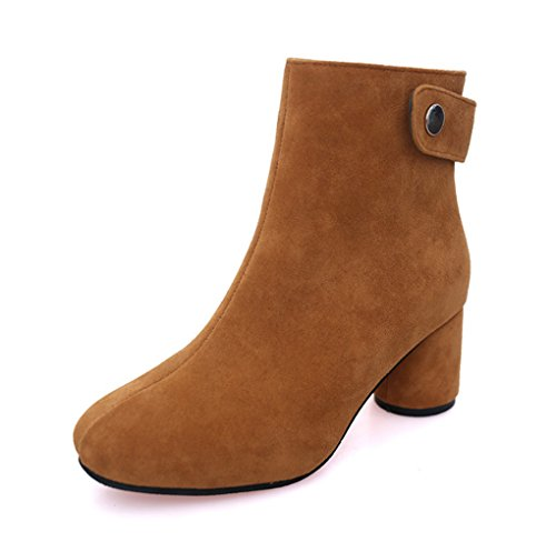 XZ Korean Version Autumn and Winter Student Martin Boots Female England Thick High-Heeled Side Zipper High To Help Short Boots Brown RetuFC