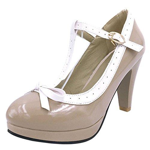 Coolcept Ladies T Bar Pumps Heels Court Shoes Extra Sizes 16 Colors Ivory