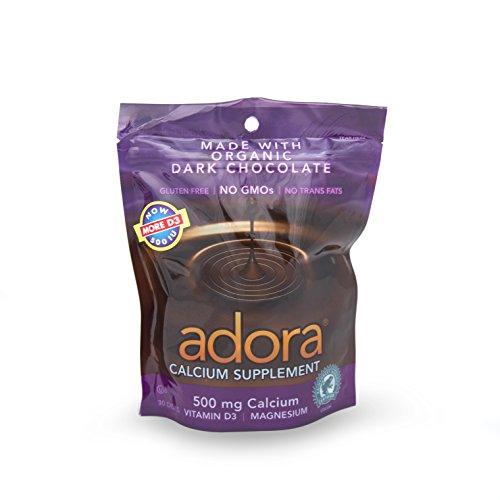 Adora Calcium Supplement Disk, Organic Dark Chocolate, 30 Count -
