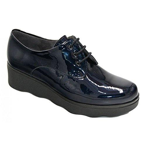 Pitillos Plataforma Charol 5340 Cordones Zapato Marino Azul BPqBwFr