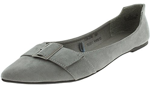 Faux Suede Buckle (Capelli New York Ladies Faux Suede With Buckle Almond Toe Flats Grey 7)