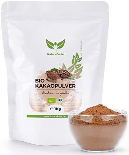 NaturaForte Kakaopulver Bio 1kg - Rohes Kakao Pulver, Zuckerarm, Stark Entölt, 11% Fett, Intensives Aroma aus hochwertigen Kakaobohnen, , Vegan, Rein und Glutenfrei, raw cocoa powder