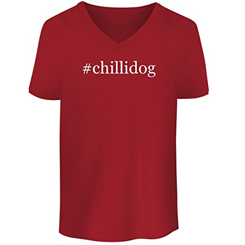 - BH Cool Designs #chillidog - Men's V Neck Graphic Tee, Red, Small
