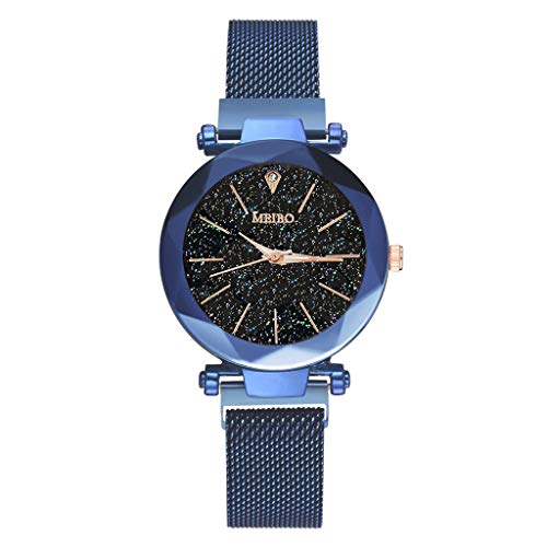 2019 Spring Deals! Fashion Women Watches Quartz Stainless Steel Band Magnet Buckle Starry Sky Analog Wrist Watch Lover Gift Valentine's Day present (Blue)