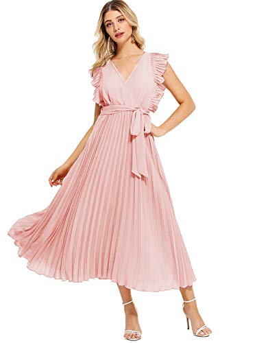 Milumia Women Wrap V Neck Fit Flare High Waist Summer Casual Dress Pink -