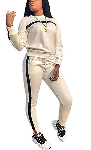 7caea0f42eabf LKOUS Women's 2 Pieces Outfits Jacket Top and Long Pants Tracksuits Set  Sportwear