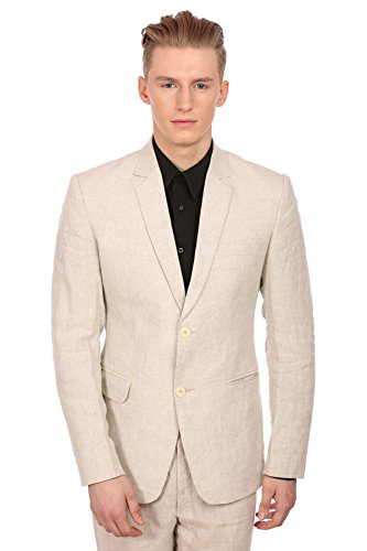 WINTAGE Men's 100% Linen Notch Lapel All Year Natural Color Blazer, X-Large