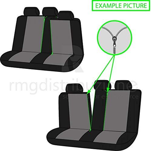 rmg-distribuzione Coprisedili per MUSA Versione sedili Posteriori sdoppiabili Colore Nero Grigio R18S0389 bracciolo Laterale 2007-2012 compatibili con sedili con airbag