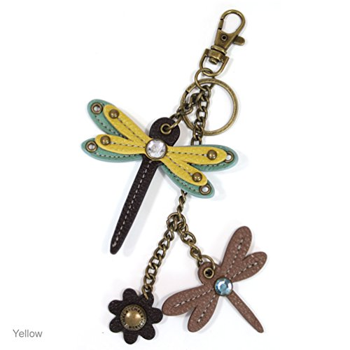 Chala MINI Key Chain Faux Leather-Butterfly and Dragonfly Collection -609 (Yellow Dragonfly)