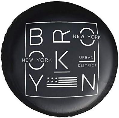 ニューヨーク市ブルックリンのアメリカ国旗 New York タイヤカバー タイヤ保管カバー 収納 防水 雨よけカバー 普通車・ミニバン用 防塵 保管 保存 日焼け止め 径83cm