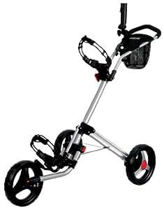 CaddyTek Deluxe Quad Fold Golf Push Cart, Silver