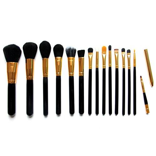Kabuki Sleeve Top (Aliliya Professional 15PCS Premium Luxurious Synthetic Hair Kabuki Makeup Brush Set Cosmetics Foundation Blending Blush Face Powder Brush Makeup Brush Kit (Golden)