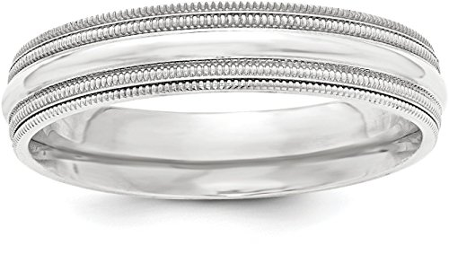 Sterling Silver 5mm Plain Half Round Classic Comfort-fit Wedding Band with Double Milgrain Edge - Size 6 - Edge Milgrain Wedding Ring